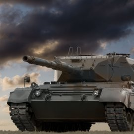 Picture of a tank facing left with another tank and black clouds in the background