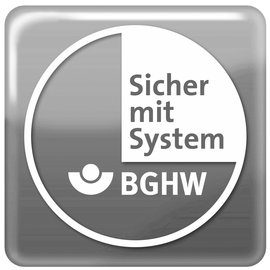 Logo of the BGHW certificate Safe with system grey