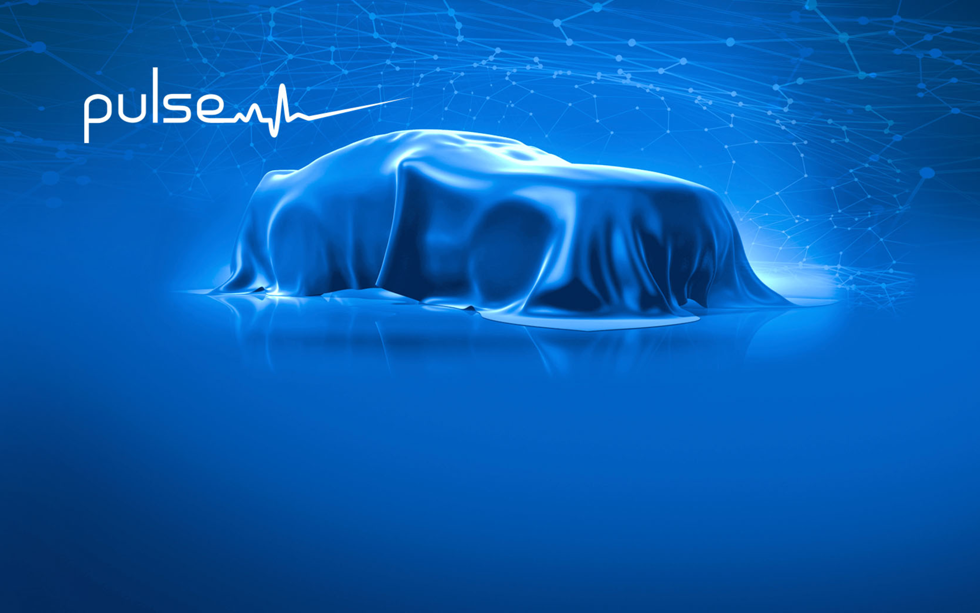 Car under blue curtain and pulse text