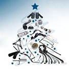 Christmas Tree made of Schlemmer parts animated on white and blue background with text Merry Christmas