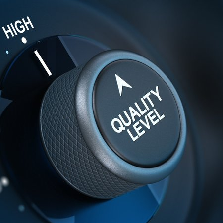 Button where it is written quality level and the word high, concept of quality management